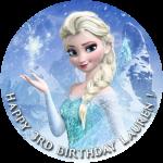 Frozen Elsa Round Edible Cake Topper (A)