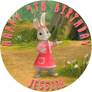 Lilly The Rabbit from Peter Rabbit Story Round Edible Cake Topper