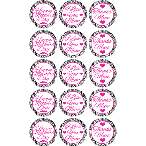 Mothers Day Edible Cupcake Toppers #2