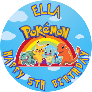 Pokemon Round Edible Cake Topper