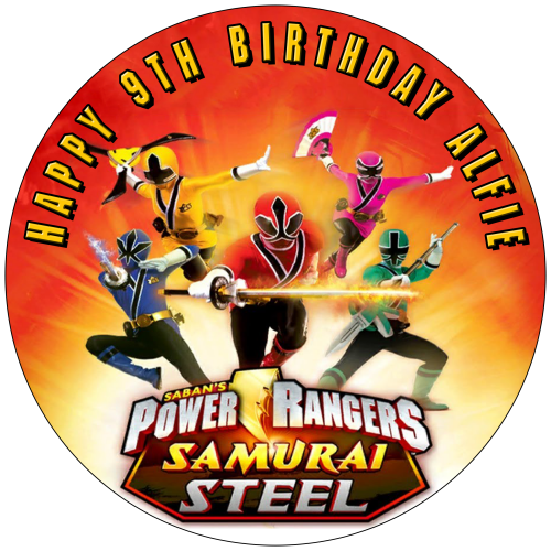 "POWER RANGERS DESIGN 1  PERSONALIZED 7.5/"" CIRCLE EDIBLE ICING CAKE TOPPER"