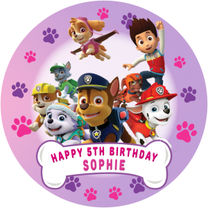 Paw Patrol All Characters Round Edible Cake Topper #2