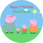Peppa Pig Round Edible Cake Topper (A)