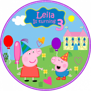 Peppa Pig Round Edible Cake Topper