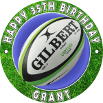 Rugby Round Edible Cake Topper