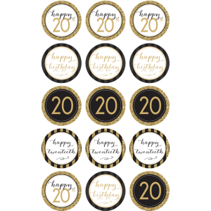 20TH Birthday Edible Cupcake Toppers