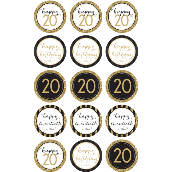 20TH Birthday Cupcake Toppers