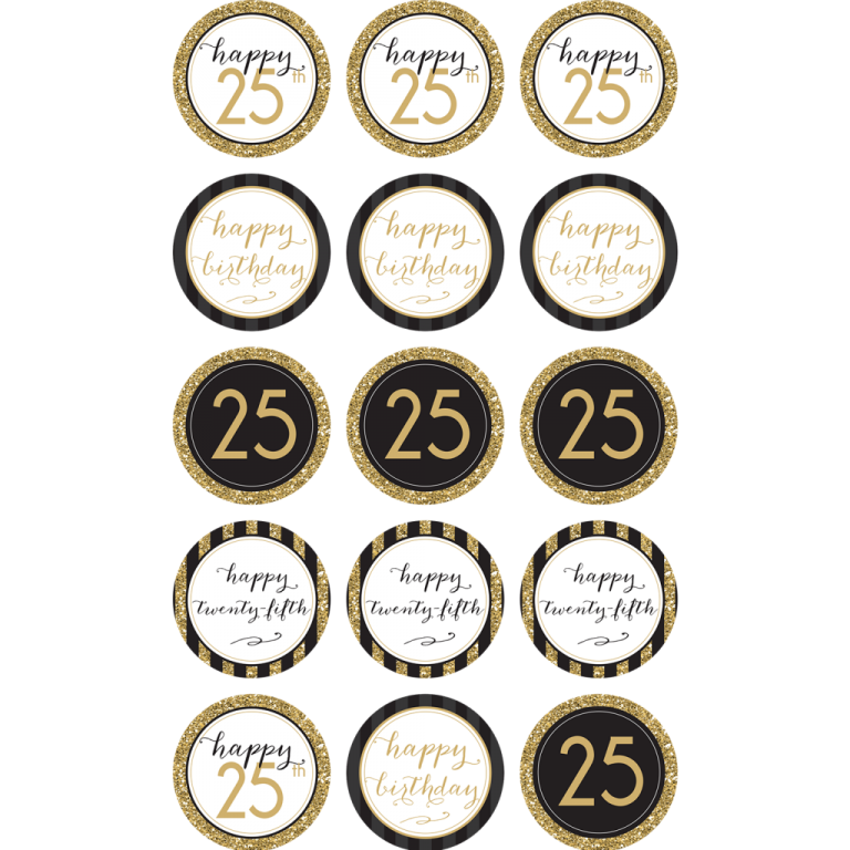 25TH Birthday Cupcake Toppers