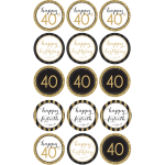 40TH Birthday Edible Cupcake Toppers