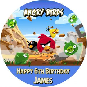 Angry Birds Game Round Edible Cake Topper