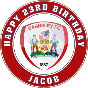 Barnsley Football Club Round Edible Cake Topper