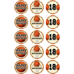 Basketball Edible Cupcake Toppers