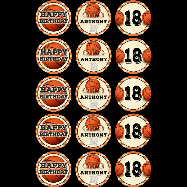 Basketball Cupcake Toppers