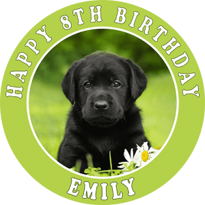 Black Puppy Labrador Round Edible Cake Topper