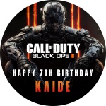 Call Of Duty Black Ops Round Edible Cake Topper