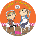 Charlie & Lola Round Edible Cake Topper (A)
