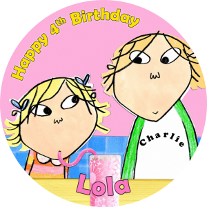 Charlie & Lola Round Edible Cake Topper (C)