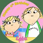 Charlie & Lola Round Edible Cake Topper (C)