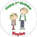Charlie & Lola Round Edible Cake Topper (D)