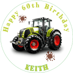 Class Tractor Round Edible Cake Topper