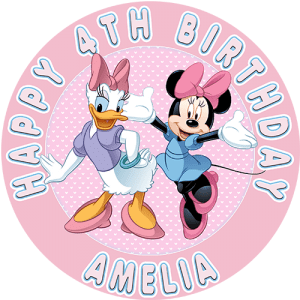 Daisy & Minnie Round Edible Cake Topper
