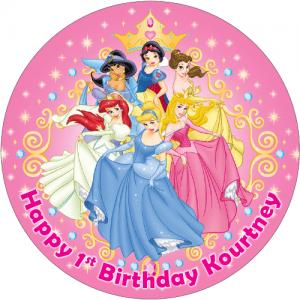 Disney Princess Round Edible Cake Topper (B)