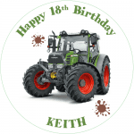 Fendit Tractor Round Edible Cake Topper