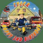 Fireman Sam Round Round Edible Cake Topper (A)
