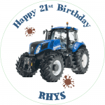 Holland Tractor Round Edible Cake Topper