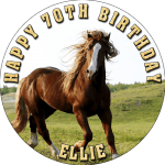 Horses Round Edible Cake Topper