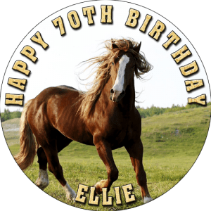 Horses Round Edible Cake Topper
