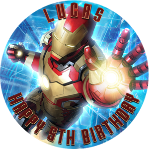 Iron Man Round Edible Cake Topper