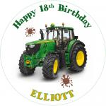 John Deere Tractor Round Edible Cake Topper