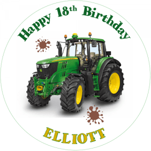John Deere Tractor Round Edible Cake Topper