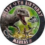 Jurassic Park Indominus Rex Round Edible Cake Topper