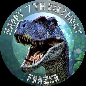 Jurassic Park Raptor Round Edible Cake Topper