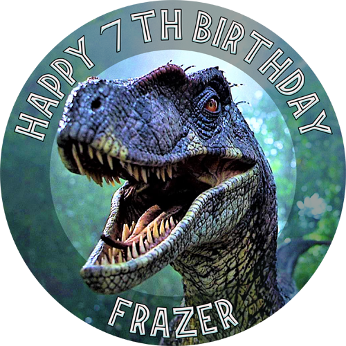 Jurassic Park Raptor Sweet Tops Personalised Edible Cake