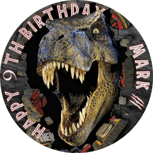 Jurassic Park (T-Rex) Round Edible Cake Topper