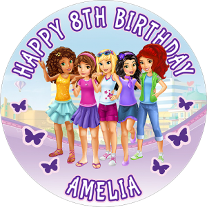 Lego Friends Round Edible Cake Topper