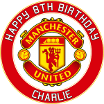 Manchester United Football Club Round Edible Cake Topper
