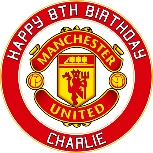 Manchester United Football Club Sweet Tops Personalised Edible Cake Toppers And Cupcake Toppers
