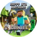 Minecraft Round Edible Cake Topper