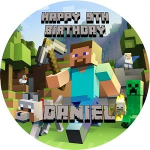 Minecraft Round Edible Cake Topper