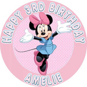 Minnie Mouse Round Edible Cake Topper