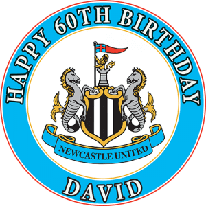 Newcastle United Football Club Round Edible Cake Topper