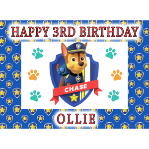 Paw Patrol Chase Rectangle Edible Cake Topper #1