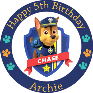 Paw Patrol Chase Round Edible Cake Topper #1