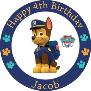 Paw Patrol Chase Round Edible Cake Topper #2