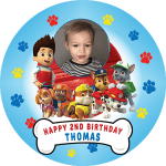 Paw Patrol Round Edible Cake Topper Plus Personalised With Photo #2