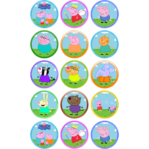 Peppa Pig Edible Cupcake Toppers #1